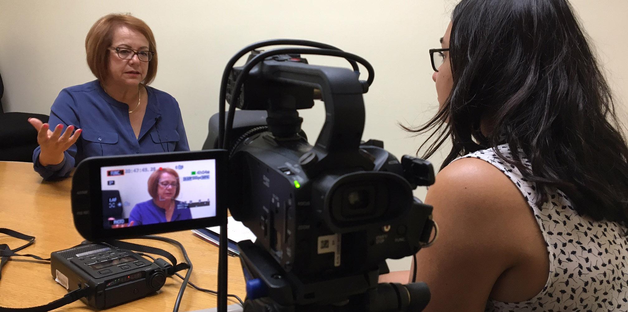 Analia Cabral interviewing Maria Elena Durazo, union activist; AFL-CIO